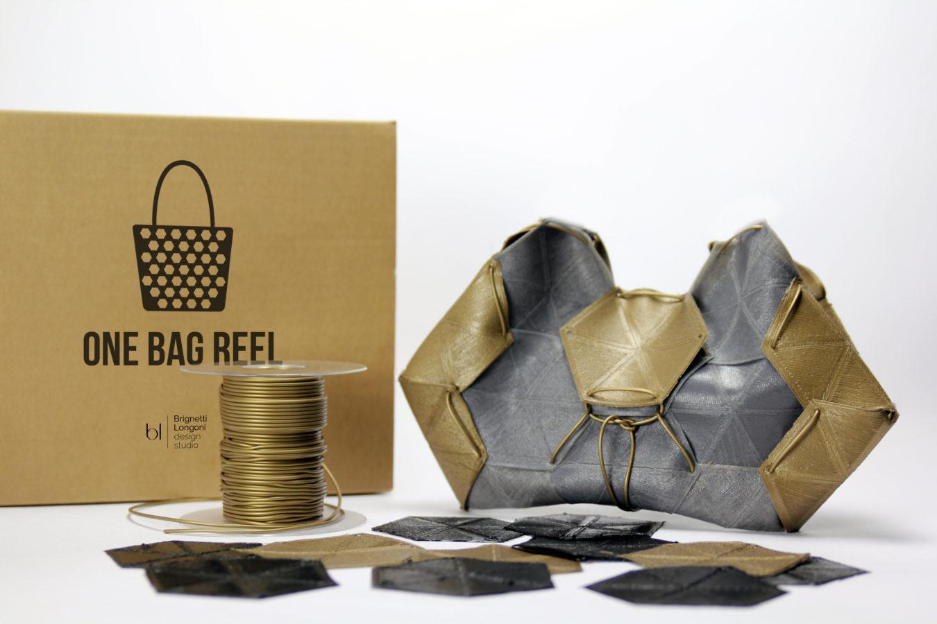 One Bag Reel - Brignetti Longoni Design Studio - Bobina, borsa, fashion, design, moda, pochette, zaino, assemblaggio, modulo, filo, filamento, flessibile, stampa 3D, morbidezza, elasticità, durabilità, autoproduzione, personalizzazione, finiture, colori, hoc, fatto a mano, sostituire, rispetto, ambiente.