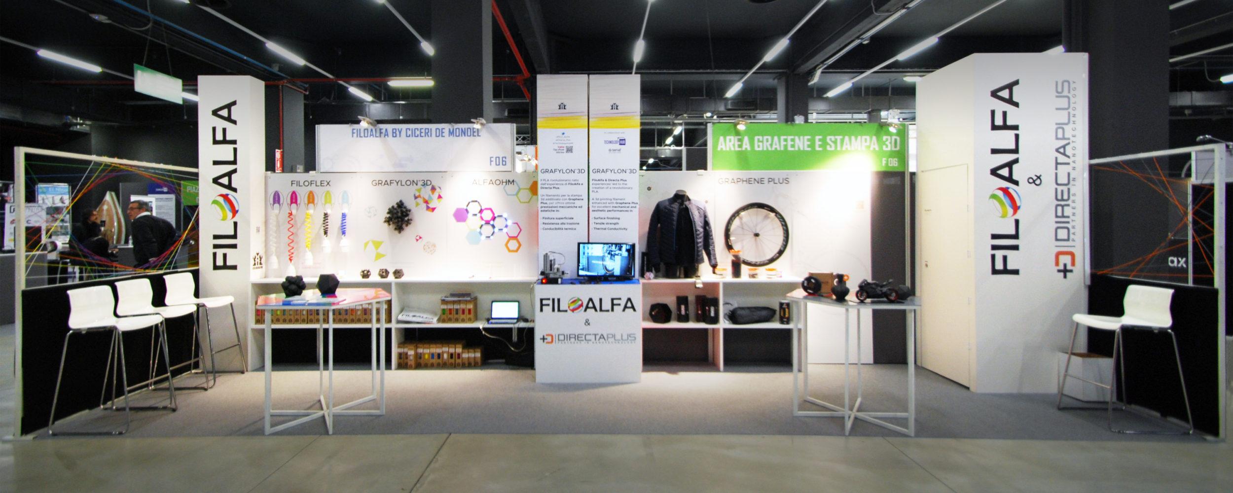 Stand Filoalfa 2017 - Brignetti Longoni Design Studio - Stand, Filoalfa, Directa Plus, Technology Hub, fiera, innovazione, tecnologie, progettazione, stand, filamenti, stampa 3d, grafene, Grafylon, comunicazione, flyer, brochure, pubblicità,design, esposizione, allestimento, arredo, tavoli, mobili, grafica.