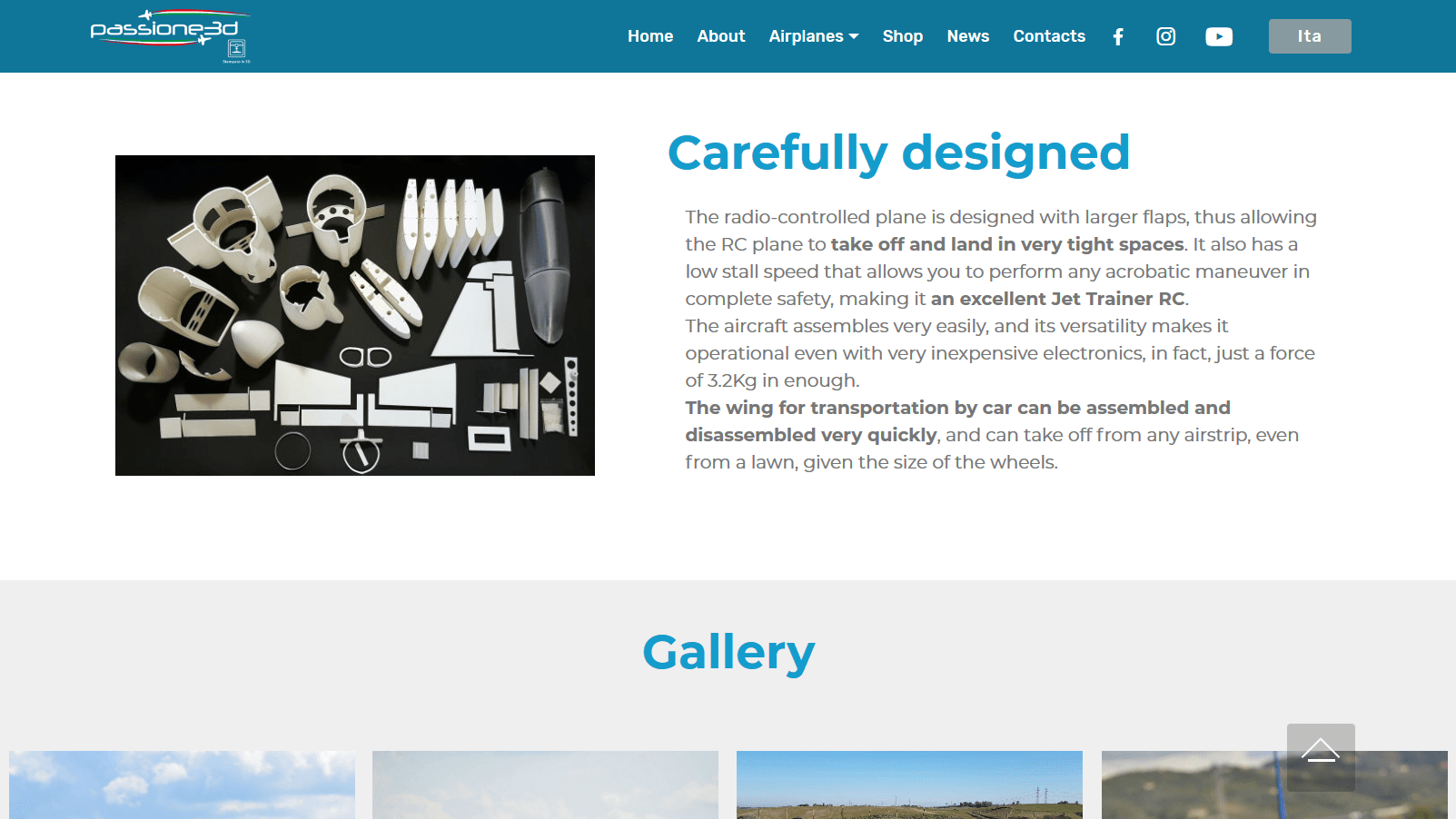 Carefully designed website with gallery